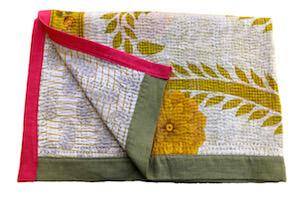 Sunflower 1 baby blanket, vintage cotton Kantha quilt
