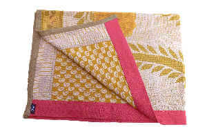 Sunflower 2 baby blanket, vintage cotton Kantha quilt