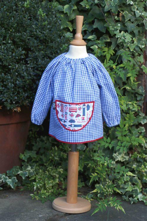Traditional children's blue gingham smock, Pink London pocket