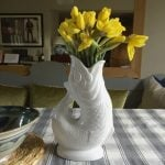 Maggie g Gluggle jug with daffodils