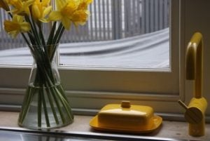 Yellow butter dish, yellow tap and daffodils